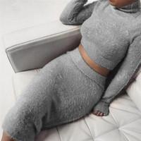 bandaj elbiseleri s toptan satış-Set (2 adet) Sonbahar Kadınlar Bandaj Suit Uzun Kollu Polar Kırpma Üst Kalem Midi Etek Katı Bodycon Elbise Kazak Eşofman Kadın