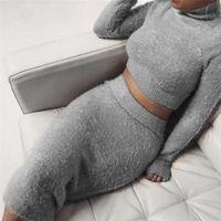 bandage saia ternos venda por atacado-Set (2 pcs) Outono Mulheres Bandage Terno de Manga Longa Top de Lã Colheita Midi Saia Sólida Bodycon Vestido Camisola Treino feminino