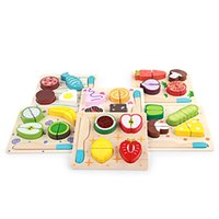 Wholesale kitchen puzzle for sale - Group buy Fruit And Vegetable Toys For Kid Kitchen Woodiness Puzzle Children Early Childhood Informative Toy High Quality qj X