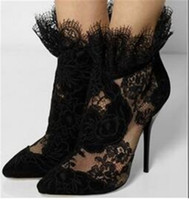 Wholesale black fringe booties resale online - Women Fashion Pointed Toe Black Lace Thin Heel Short Mesh Boots Fringes Design Embroidered High Heel Ankle Booties Dress Shoes