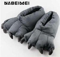 Wholesale slippers claws resale online - Short plush slipper for men winter indoor shoes totem bear claw trendy synthetic flock male slippers big size
