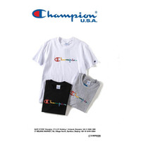Wholesale rainbow t shirt women - 2018 New Champions x KITH short Rainbow Embroidery T shirt men and women BLACK and white Short all-match summer Cool Tshirt