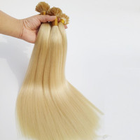 Wholesale Keratin Glue Extensions - Top Grade Peruvian U Tip Pre bonded Hair Extensions 0.5g strand 200s Blonde 613# Color 12 To 26 Inch Keratin Glue Straight Human Hair