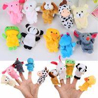 ingrosso props della storia del giocattolo-10Pcs Animal Animal Finger Puppet Farcito Giocattoli Per Childern Baby Animal Mano Finger Puppets Bambole Raccontare Story Puntelli Cute Cartoon