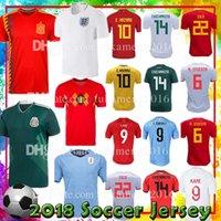 Wholesale England Home Jersey - new 14 CHICHARITO Mexico 6 A.INIESTA 22 ISCO Spain 9 KANE England 10 E.HAZARD Belgium L.SUAREZ Uruguay home Soccer Jerseys 2018 world cup