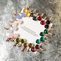 ingrosso orecchino di diamanti giada-2018 Top in ottone materiale parigi design orecchino con natura giada e zirconi decorati timbro logo charm orecchino a bottone con diamanti in oro rosa 18 carati