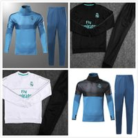Wholesale men s express - new 17 18 Real Madrid soccer Tracksuit MODRIC Track suits jacket 2017 2018 Real Madrid chandal training suits sports wear Express Free