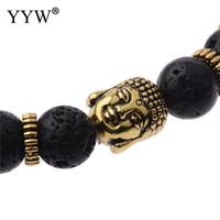 мала черное золото оптовых-Antique Gold Color 8mm Round Tiger Eye Black Lava Stone  Prayer Wrist Mala Buddha Bracelets for Women Men Jewelry Gifts