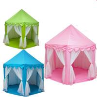 im freien große zelt häuser großhandel-Freies Verschiffen-großes Innen- und im Freienkinderspiel-Haus-Prinz und Prinzessin Castle Kids Play Tent Kinderspiel-Zelt