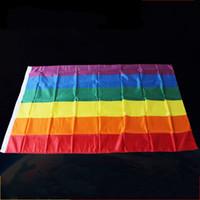 ingrosso sfilate-90 * 150 cm Rainbow Flag 3 * 5ft Tessuto in poliestere Lesbiche Gay Pride LGBT Bandiere Bandiere Colorate Per Attività Parade Decorazione 5jh YY
