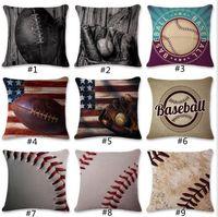 Wholesale football covers - 9 Designs 45*45cm Baseball Football Pillow Case Cotton Linen Square Cushion Sofa Car Livingroom Bedroom Maternity Pillow Covers GGA109 20PCS