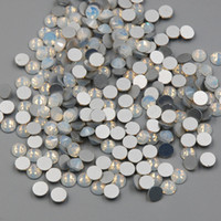 vidrio fijo al por mayor-Nuevo SS3-SS30 Color de ópalo blanco 1440PCS 3D Nail Art Flat Back No Hot Fix Rhinestones Non Hotfix Glass Crystals Stone