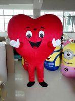 kırmızı kalp maskot kostümleri toptan satış-2018 Yetişkin kırmızı kalp kostüm maskot yetişkin boyutu maskot kostüm