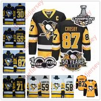 Wholesale Blue Penguin - Pittsburgh Penguins Champions Jerseys 3 Three Patches 50th 100th 2017 Stanley Cup Sidney Crosby Jake Guentzel Evgeni Malkin Kessel 30 Murray