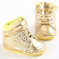 bebek erkek giyim toptan satış-Yenidoğan Bebek İlk Walkers Ayakkabı Bebek Yürüyor Pony Kanat Toddler Çizmeler Erkek Kız Melek Kanatları Patik Ayakkabı Prewalkers