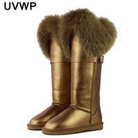 Wholesale boot grey fox - 2017 New Winter Genuine Leather Snow Boots Natural Fox Fur Knee- High Boots Waterproof Flat Heel Long Women Warm Winte Fur Boots