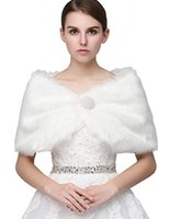 caps de peles de vestido de noiva de inverno venda por atacado-Clearbridal Mulheres Faux Fur Wrap Cape Stole Xale Bolero Casaco Jacket para vestido de noiva de inverno