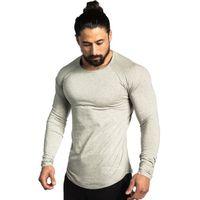 Wholesale raglan fashion men shirt - Men Long Sleeves Cotton T Shirt Autumn Style Raglan Sleeve Casual Fashion Clothing Slim Fit Elasticity Male Fitness Tees Tops