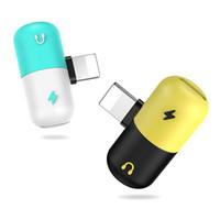 porta de carga mini usb venda por atacado-Lightningg ix Mini Cápsula Adaptador de Telefone Celular 2 Em 1 de Áudio fone de ouvido Dual USB Portas de Carga para o telefone móvel fone de ouvido com caixa de varejo