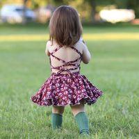 Wholesale sweet grass resale online - INS Baby girl dresses Vintage Floral print spaghetti straps Back cross sweet suspender dresses Boutique girls clothing cotton Summer
