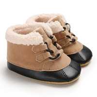 Wholesale baby girl white booties resale online - Winter Soft Plush baby Booties Infant Anti Slip Snow Boots super Warm Cute ball Baby Girl Boy Boots soft sole