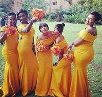gelb plus größe brautjungfern kleider großhandel-Einfache Nigeria Mantel Brautjungfernkleider Lange Bateau-Ausschnitt Gelbe Brautjungfer Kleider Sweep Zug Plus Size Formale Abendkleider Vestidos