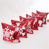kar tanesi örtüsü toptan satış-Kırmızı Noel Yastık Yastıklar Minder Örtüsü Iki Taraflı Denizkızı Sequins Kar Tanesi Geyik Kafa Kızak Deers İyi Kalite 16xa KK