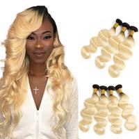 613 platin sarışın saç uzatma toptan satış-Charmingqueen 1B / 613 Ombre Sarışın saç Brezilyalı Vücut Dalga Saç Demetleri 2 Ton Koyu Kökleri Platin Ombre Vücut Dalga İnsan saç Uzatma