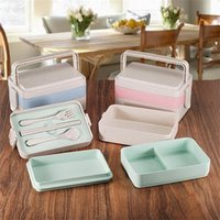 Wholesale chopstick container - Three Layers Student Lunch Box Outdoor Convenient Wheat Stalk Food Storage Containers Environmental Protection Sushi Case Fresh Style 15yl X