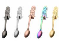 Wholesale teaspoon wholesale - New 5 Colors Mermaid Teaspoons Stainless steel Creative Tea Coffee Spoon for Cafe wedding Hanging Spoon free shiping