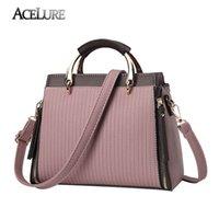 Wholesale tote bags metal handles - ACELURE 2018 Luxury Designer Women Handbags Striped Women Bags High Quality PU Leather Messenger Bag Metal Handle Female Tote