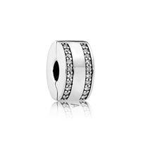 bracelets de vraies pierres achat en gros de-Authentique Real Sterling Silver Circular Clip fixe avec Clear CZ pierre Fit Pandora Argent Charmes Bijoux Bracelet Making DIY
