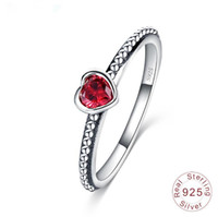 Wholesale gemstone ring - Fashion real sterling silver rings heart diamond ring for women wedding party red gemstone rings jewelry
