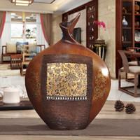 ingrosso vasi vivi-legno piccolo vaso ornamenti in stile europeo retrò arredamento per la casa arricchimento portico soggiorno TV mobile cabinet Decor