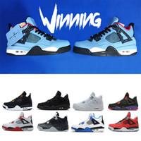 sports shoes 888c0 58756 nike air jordan retro shoes Scarpe da basket uomo Travis Houston blu 4  Raptors 4s Pure Money Black Cat cemento bianco Bred Fire red Fear Sneakers  sportive ...