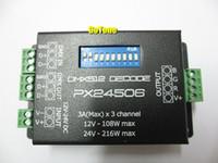 dmx512 decoder dmx led kontrolör toptan satış-Ücretsiz kargo PX24506 DMX512 Dekoder Sürücü 9A DMX 512 Amplifikatör Denetleyici DC12V 24 V RGB LED Şerit Işık bant LED Lamba Modülü