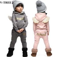 bebek kışlık takım elbise seti toptan satış-Çocuk Giyim Seti Polar Spor Takım Elbise Erkek Kış Toddler Kızlar Için Kanatları Suits Çocuklar Eşofman Bebek Okul Kostüm