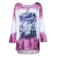 281e8bbf5d5 Women T-Shirts 2018 Summer V-Neck Long Sleeves Polyester Printing Plus  Size5xl tshirt Tops T-shirts Loose
