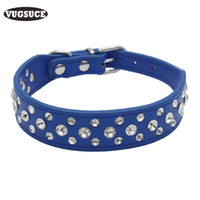 Wholesale Leather Diamond Dog Collars - VUGSUCE Rhinestone Pet Dog Collar Bling Diamond PU Leather Adjustable Dog Necklace Pet Strap for Small Large Dogs Products
