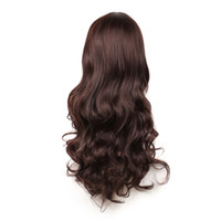 Wholesale korean wigs women - wig withe korean auburn brown long wavy black wig with bangs natural hair heat resistant synthetic wigs for women WoodFestival