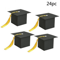 abschlussfeier geschenke großhandel-24Pcs Graduation Cap geformt Geschenkbox Kandiszucker Pralinenschachtel Party Favor Party Decorationsupplies Kinder Geschenk