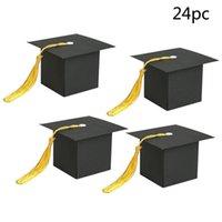 ingrosso favoriscono scatole per la laurea-24Pcs Graduation Cap Shaped Gift Box Candy Sugar Chocolate Box Favore del partito Decorationsupplies Regalo dei bambini