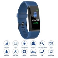 Wholesale pedometers online - 115plus Fitness Tracker Smart Bracelet BT Color Display Sports Watch Heart Rate Blood Pressure Monitor Pedometer Step Calorie Counter