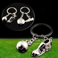 Wholesale Fashion World Shoes - Unisex Fashion World Cup Creative Football Soccer Sports Shoes Key Chain Ring, Trendy Metal Soccer Pendant Lady Keychain Men Gift 8 Style