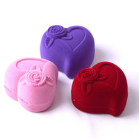 Wholesale candy wedding rings - Earrings Storage Boxes High Grade Flocking Ring Ear Nail Wedding Jewelry Heart Shaped Ornaments Packing Hot Sale 3 2msa V