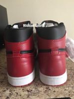 hakiki deri basketbol ayakkabıları toptan satış-1 s Klasik OG 1 Basketbol Ayakkabı yuvarlandı Hakiki deri bred siyah kırmızı spor ayakkabı erkek kadın sneakers Michael Spor