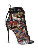 frauen rhinestone-knöchelbeuten großhandel-Frauen Luxus Bling Bling Mixed-Farben Strass Lace-up Short Gladiator Stiefel Lace-up Crystal Cut-out High Heel Ankle Booties