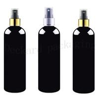 siyah parfüm şişeleri toptan satış-20 adet 500 ml siyah boş altın gümüş yaka sprey plastik şişeler, siyah parfüm PET şişeler 500cc kozmetik ambalaj püskürtücü