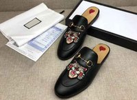 Wholesale Soft Sole Slippers - AAAAA Quality Women Princetown Leather Slipper Embroidered Applique,Horsebit Detail,Leather Sole,Size 35-40,Free Shipping