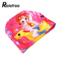 гибкий стрейч оптовых-Flexible Colorful Printed Swimming Cap Waterproof Bathing Stretch Fabric Hat Protect Ears for long hair Kids Women 2016 Sports